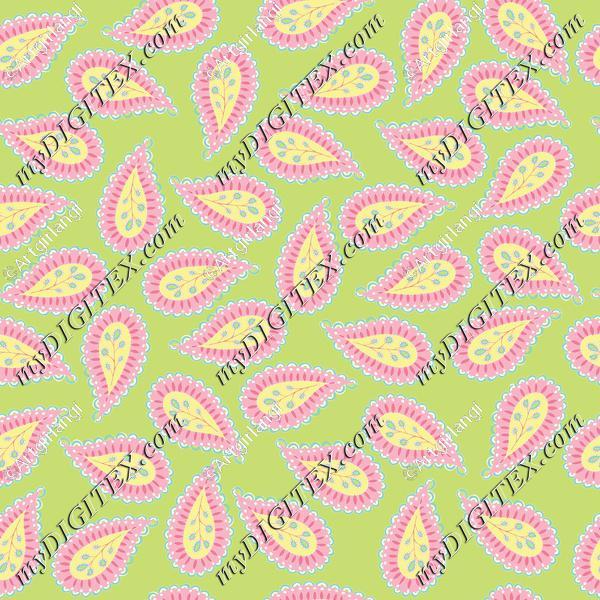 Pastel Paisley coord. green bg-01