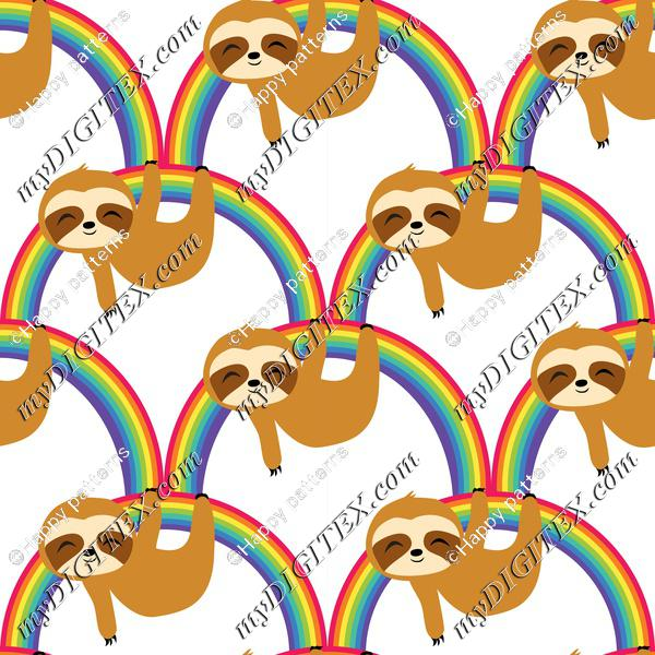 Cute Baby Sloths on Rainbow