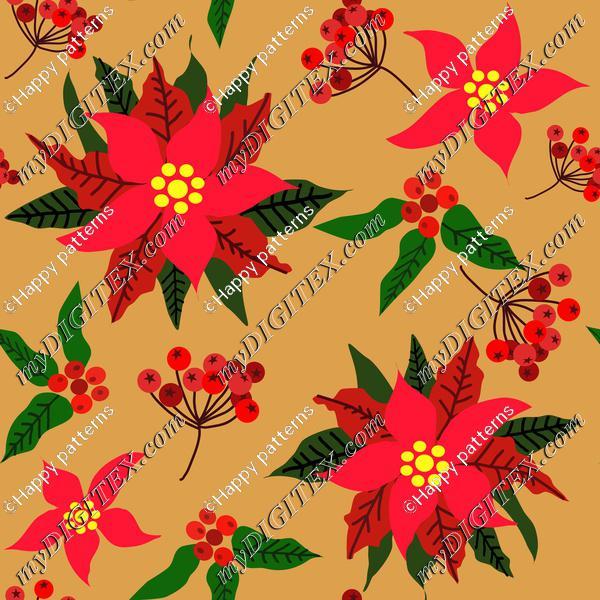 Christmas Star Flower,Red Berries and Green Leaves Ponsettia Flower on Golden