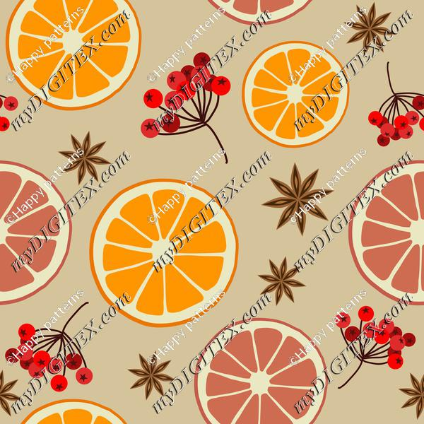 Winter Christmas Pattern with Oranges and Berries on Natural