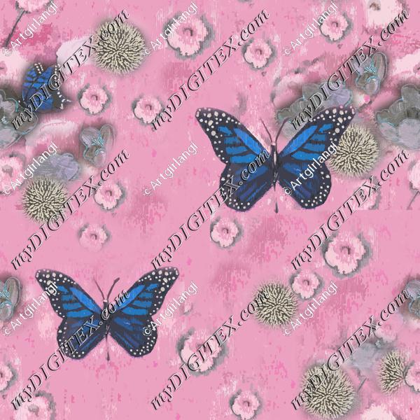 Butterflies Painted pink blue