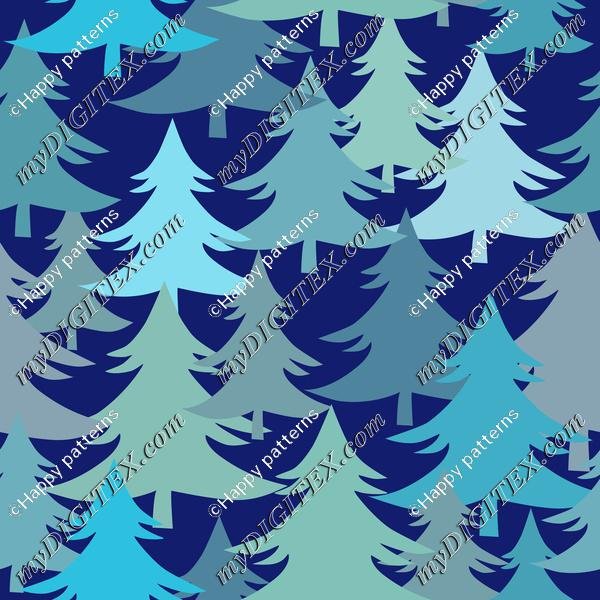 Christmas Trees Fir Trees Winter Forest On Dark Blue