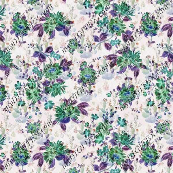 combination of green and purple floral pattern with water color background