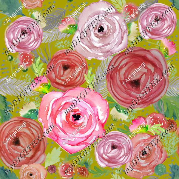 Beautiful Watercolor Floral Pinks Green BG