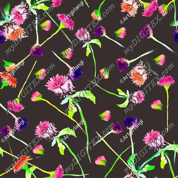 Wildflowers brown background