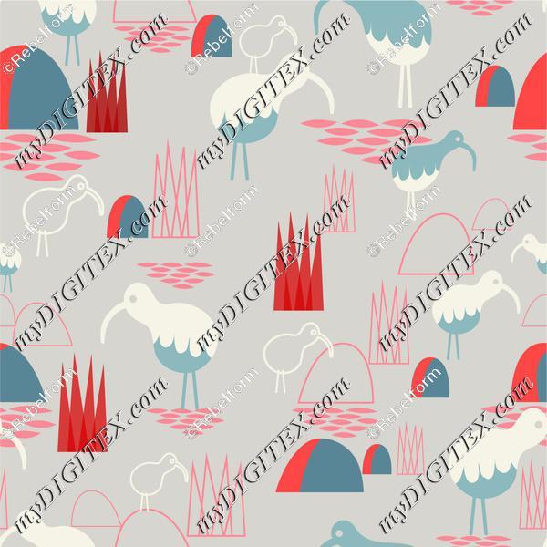 Red Ibis grey