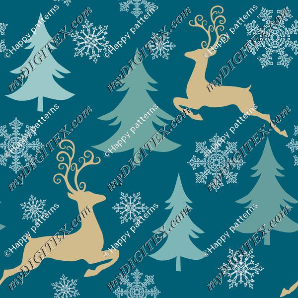 Magical Christmas Forest, Reindeer and Trees on Navi