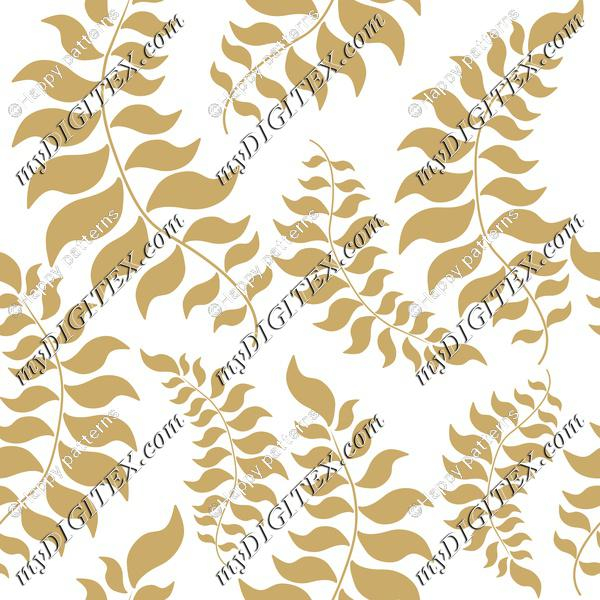 Golden Leaves on White, Elegant Christmas, Winter Pattern