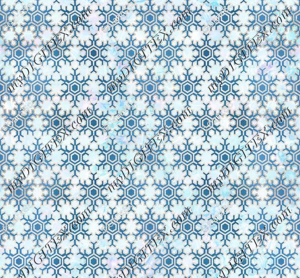 Metallic geometric snowflake Christmas pattern