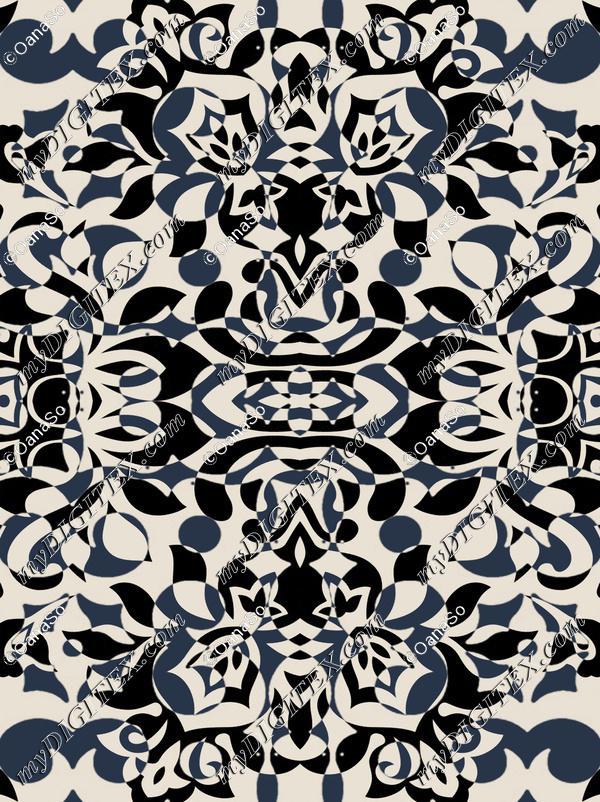 Stylised petals art deco beige black wallpaper