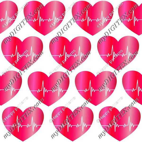 Heartbeat Red Hearts Romantic Love Pattern