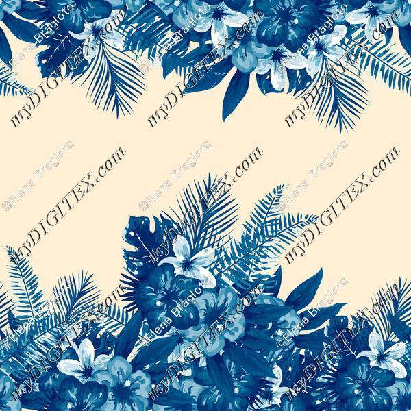 Tropical flowers blue