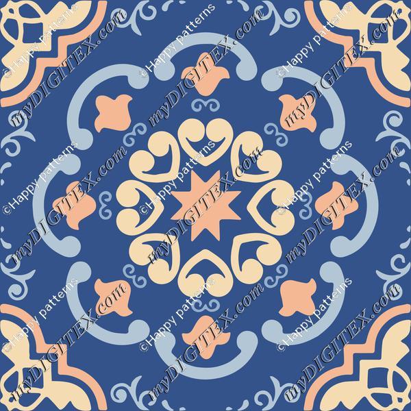 Ceramic Tiles Classic Blue, Peach