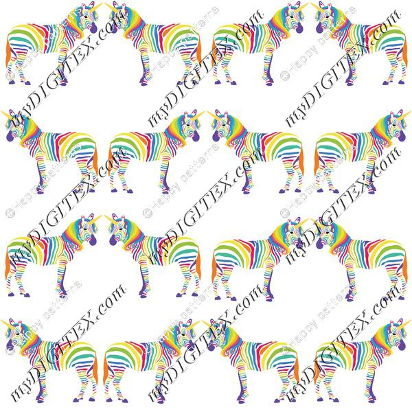 Rainbow unicorn zebras on white