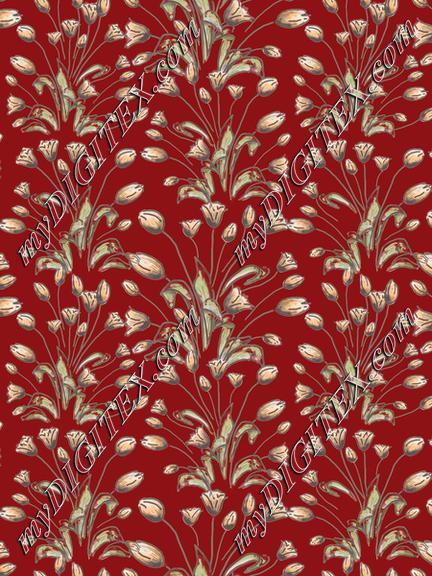 Tulips flowerpattern on red
