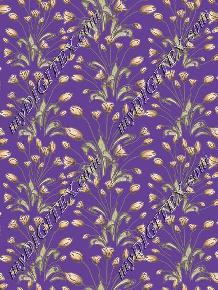 Tulips flowerpattern on purple