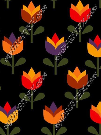 Summer Flowers, Tulips on Black