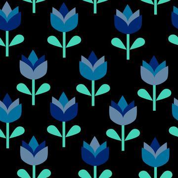 Blue florals on black, Tulips blue