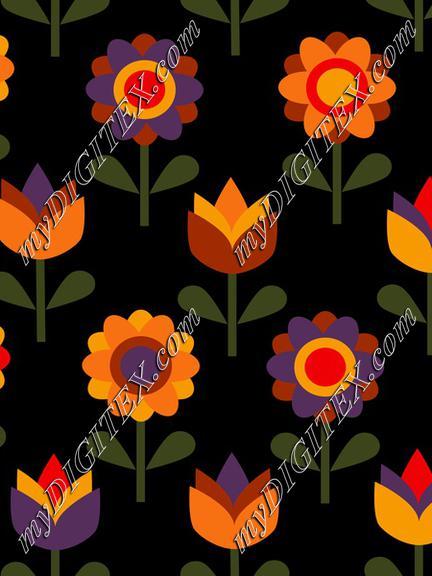Summer flowers on black