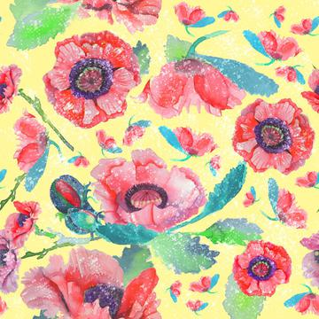 poppyfloral with layers and paint
