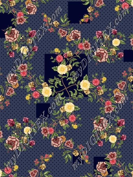 floral with geometric pattern