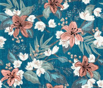Textured Carnation Chintz - Blue