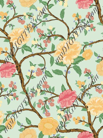 Hand painted floral all over pattern