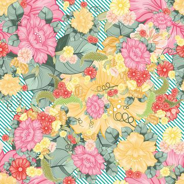 All over floral with stripes pattern