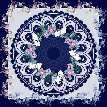 colorful floral scarf design