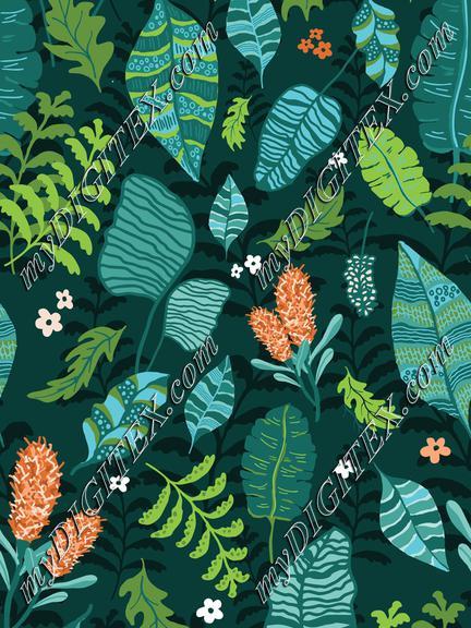 Tropical leaves Orange flowers