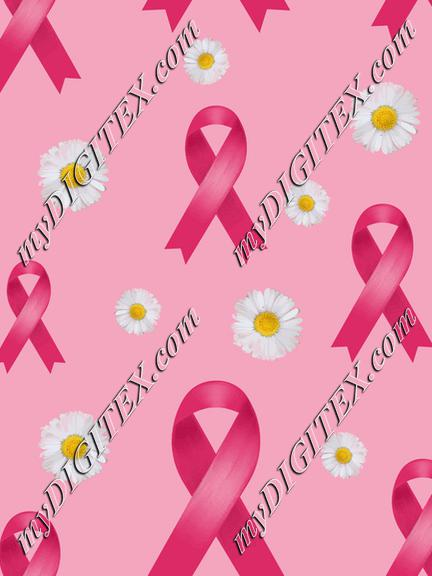 breast cancer pink ribbon and daisies