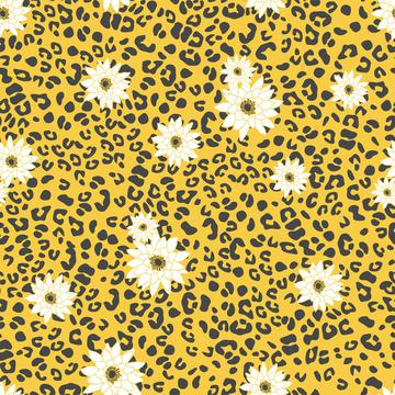 leopard animal abstract geometric with floral yellow white print