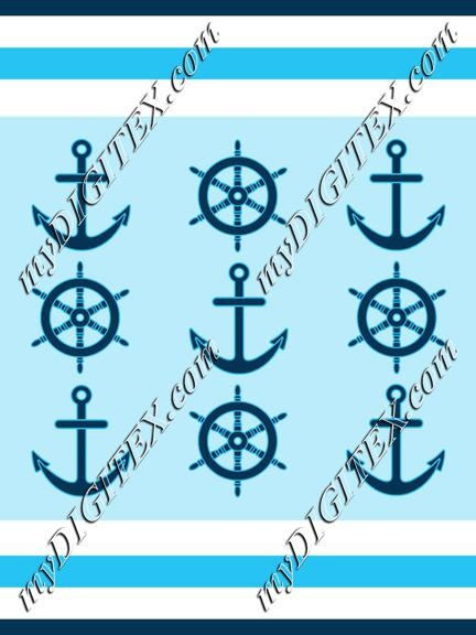 Nautical stripes wheel and anchor2