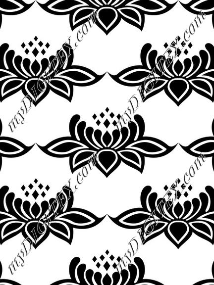 Lace black and white damask flower baroque victorian style