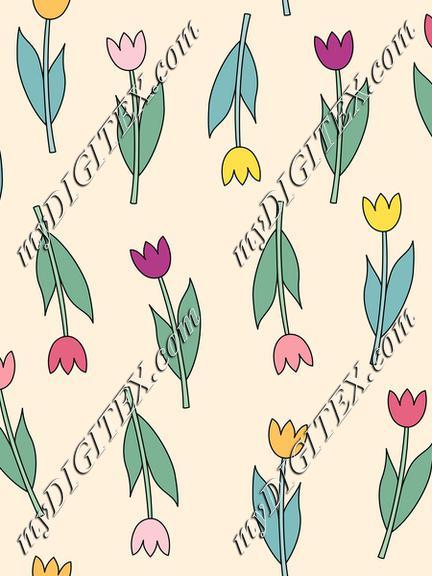 Pink, violet, yellow, orange tulips on pastel background