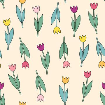 Pink, violet, yellow, orange tulips on pastel background