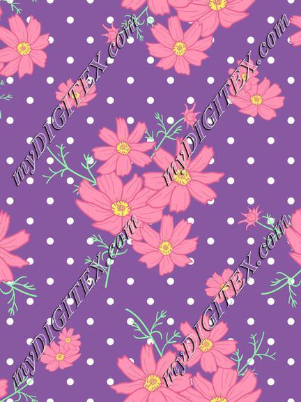 cosmos flower polka dot