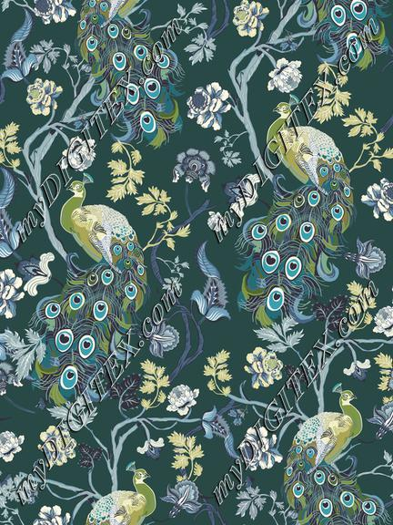 Chinoiserie-Teal-Peacocks