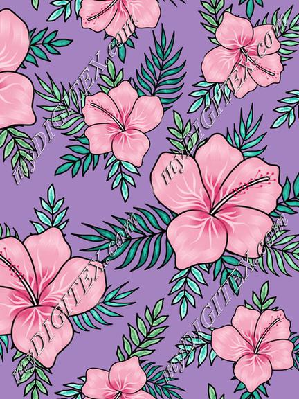 Pink hibiscuses with palm tree leaves on violet background