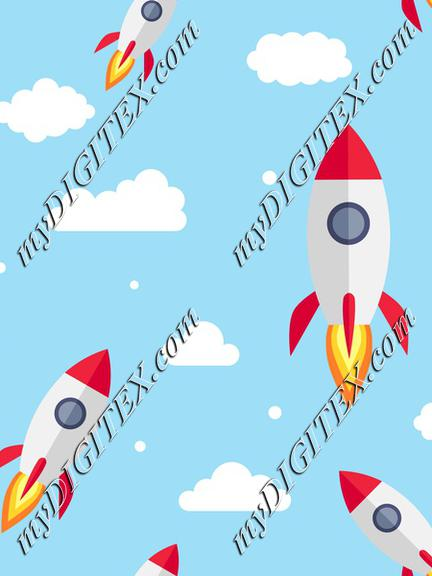 Rocket on the sky with clouds