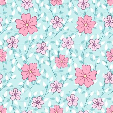 Leaves and pink flowers on mint background