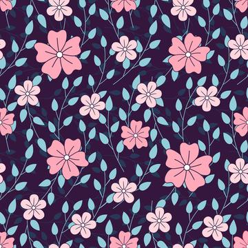 Leaves and flowers on navy background