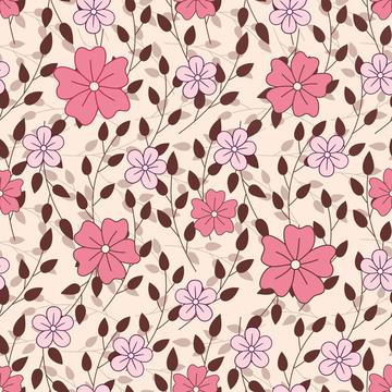 Leaves and flowers on peach background
