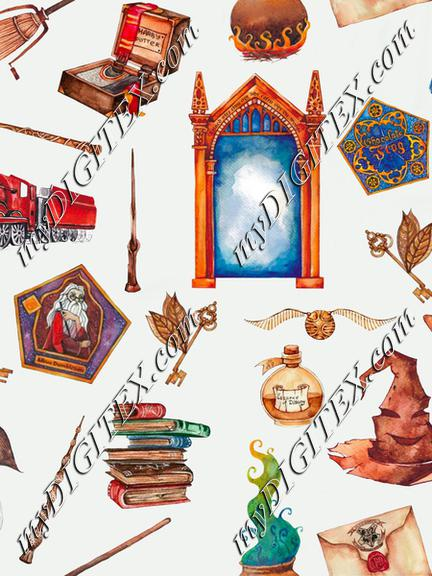 Wizarding Watercolor Elements