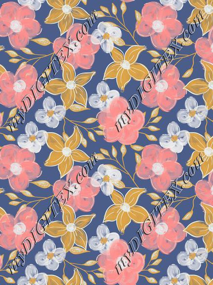 Acrylic flowers on navy blue background