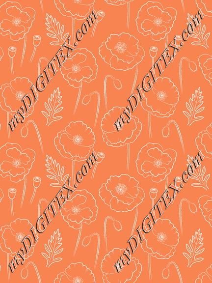 Poppies outline on orange background