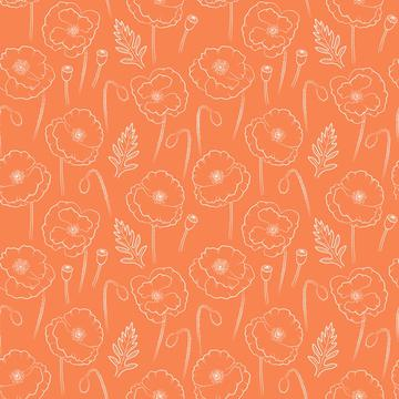 Poppies outline on orange background