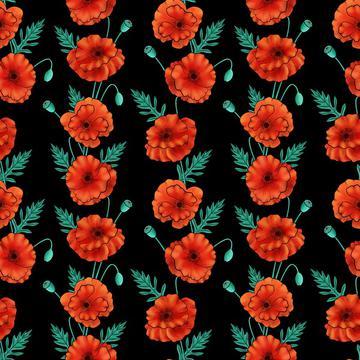 Poppy stripes on black background.