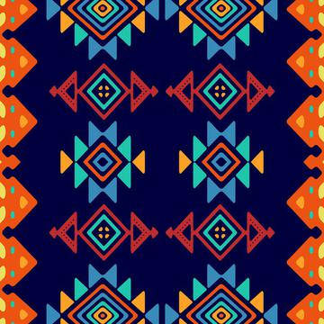 Tribal shapes on a blue background