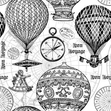 Vintage Travel Hot Air Balloon